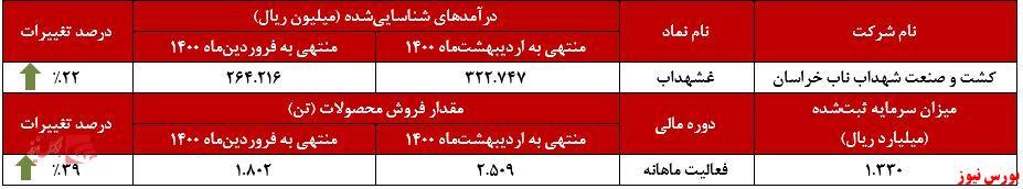 عملکرد ماهانه تبرک+بورس نیوز